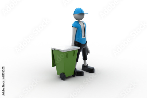 3d man and trash can