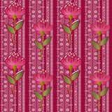Floral lacy seamless pattern with flowers on pink