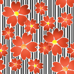 Seamless floral pattern on black and white stripes background