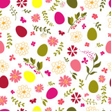 seamless pattern from eggs and flowers.