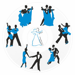 couples dancing on the background of a circular plate