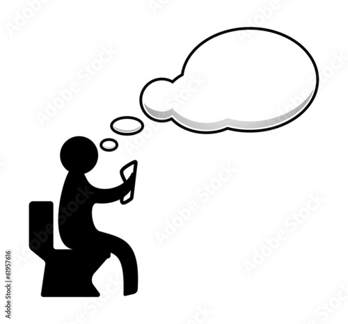 Man sitting on the toilet with speech bubble