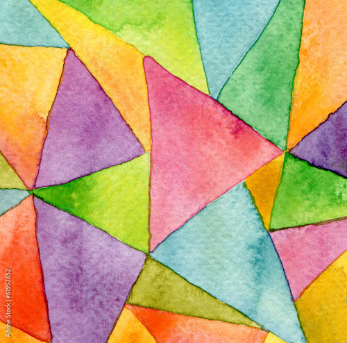 Plexiglas Geschilderde Achtergrond Abstract watercolor painted geometric pattern background
