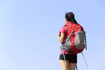 woman hiker seaside mountain peak