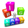 3D People with word big sale made from colorful blocks