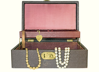 Open old,vintage hinged jewelry box,top tray.Isolated.