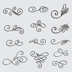 Vector set of calligraphic elements for design