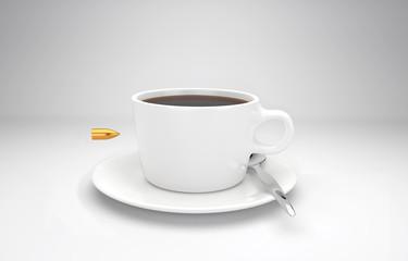 Projektil schießt durch eine Kaffeetasse