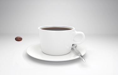 Kaffeebohne schießt durch eine Tasse