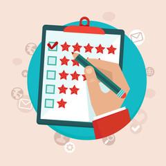 Vector customer feedback concept in flat style