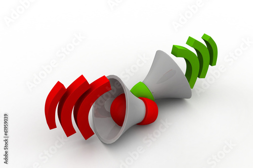 Loudspeaker or megaphone icon isolated on white background.