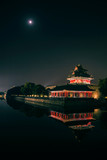 the turret of beijing forbidden city in night,China