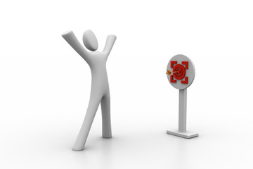 man presenting centre of the red target