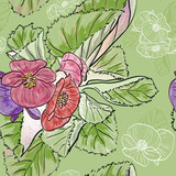 Seamless pattern with drawing begonia flowers
