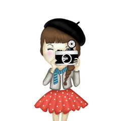 Cute girl photographer illustration