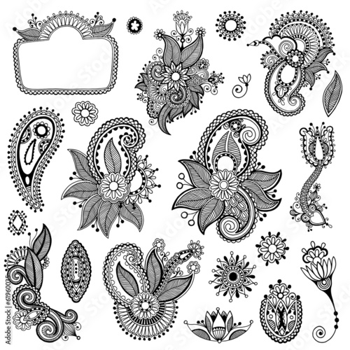 black line art ornate flower design collection