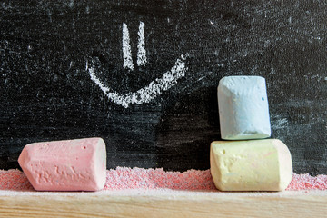 Blackboard writing on it with chalk - with a smile