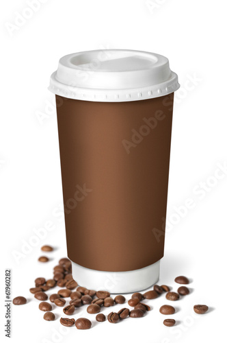 Coffee cup with coffee beans. Isolated on white.