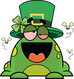 Drunk Cartoon Frog In St. Patrick's Day Hat
