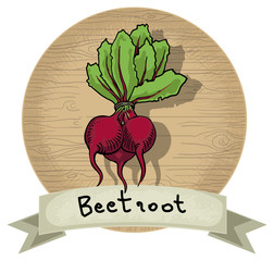 Hand drawn beetroot icon, wooden background