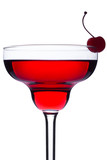 Red cocktail with maraschino cherry on white background