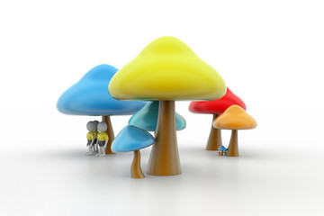 3d people under the mushrooms