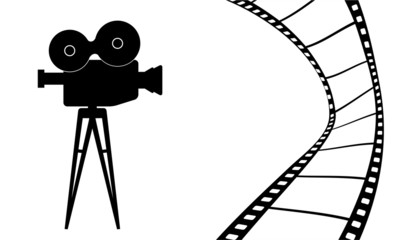 Cinema camera and movie vector illustration