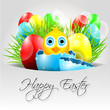 Happy Vector Easter Background with chick in broken egg