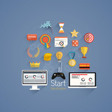 Gamification in business- Flat design