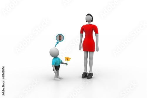 Small 3d man proposing the taller woman