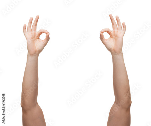 man hands showing ok sign