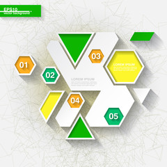 Green and yellow infographic template with hexagons. Eps10