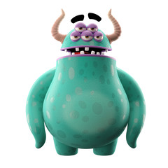 3D monster, mascot, funny character, cartoon icon, joke