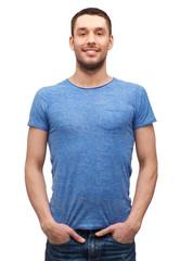smiling man in blank blue t-shirt