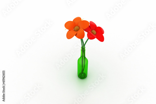 bunch of fresh flower in bottle