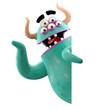 Leinwandbild Motiv 3D object, monster, funny cartoon isolated on white background