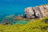 Beautiful rocks and greenery south coast of Crete island