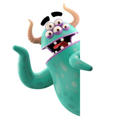 3D object, monster, funny cartoon isolated on white background