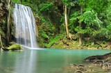 Green Waterfall in Tropical Rainforest