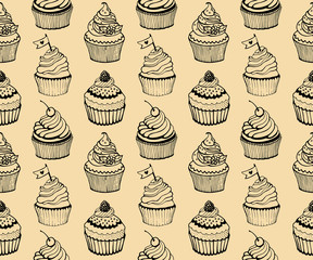 Cupcake baking seamless hand drawn pattern