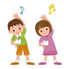 ラジオ体操をする子供