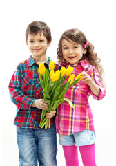 son with bouquet preparing surprise for mother