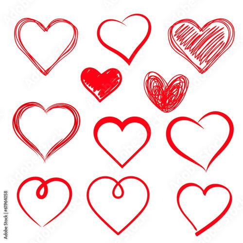 Zestaw serc wektorowych. Ręcznie rysowane.