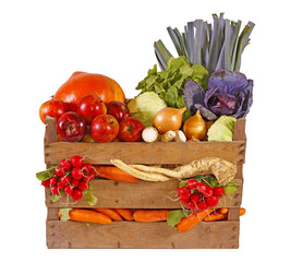 Fresh vegetables and fruits in basket.