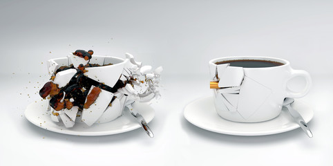 Projektil schießt durch zwei Kaffeetassen