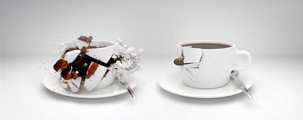 Kaffeebohne schießt durch zwei Tassen