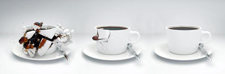 Kaffeebohne schießt durch Tassen