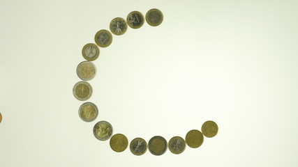 euro coins stop motion animation