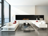 Luxurious modern desing living room with fireplace