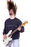 male musician playing bass guitar with hair up